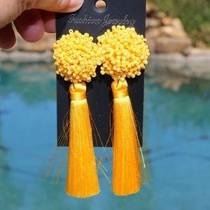 New! Large Yellow Boho Earrings Post Drop Tassels